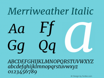 Merriweather Italic Version 2.001 Font Sample