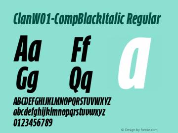 ClanW01-CompBlackItalic Regular Version 7.504 Font Sample