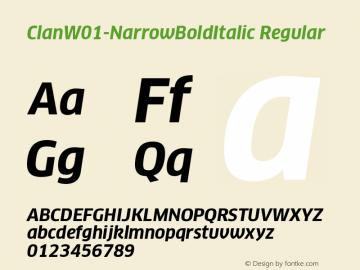 ClanW01-NarrowBoldItalic Regular Version 7.504 Font Sample
