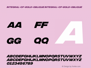 integral-cf-bold-oblique integral-cf-bold-oblique Version 1.000;PS 001.000;hotconv 1.0.88;makeotf.lib2.5.64775 Font Sample