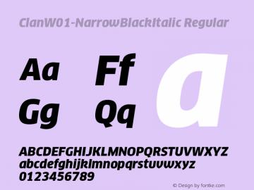 ClanW01-NarrowBlackItalic Regular Version 7.504 Font Sample