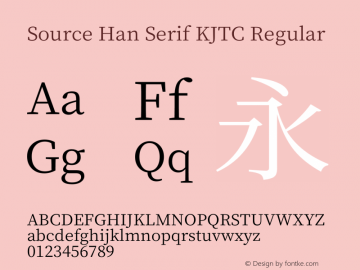 Source Han Serif KJTC Regular Version 1.000;PS 1;hotconv 16.6.53;makeotf.lib2.5.65590 Font Sample