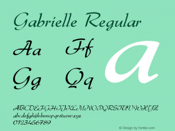 Gabrielle Regular Version 001.002 Font Sample