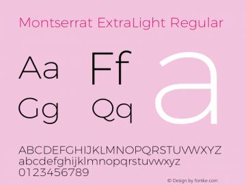 Montserrat ExtraLight Regular Version 4.000 Font Sample