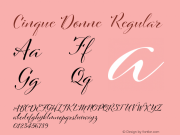 Cinque Donne  Regular Version 1.000 Font Sample