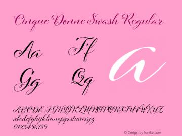 Cinque Donne Swash Regular Version 1.002 Font Sample