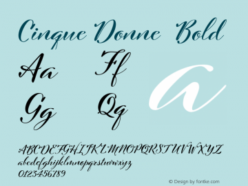 Cinque Donne  Bold Version 1.001 Font Sample
