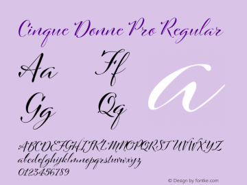 Cinque Donne Pro Regular Version 1.003 Font Sample