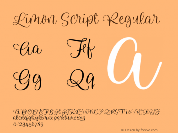 Limon Script Regular Version 1.000;PS 001.000;hotconv 1.0.88;makeotf.lib2.5.64775 Font Sample