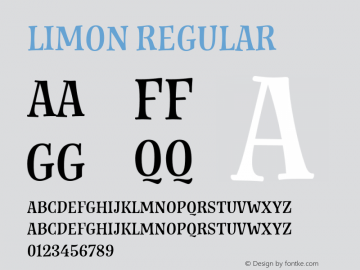 Limon Regular Version 1.000;PS 001.000;hotconv 1.0.88;makeotf.lib2.5.64775 Font Sample