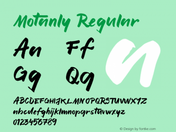 Motanly Regular Version 1.002;Fontself Maker 1.1.0 Font Sample
