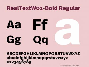 RealTextW01-Bold Regular Version 7.504 Font Sample