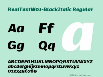 RealTextW01-BlackItalic Regular Version 7.504 Font Sample