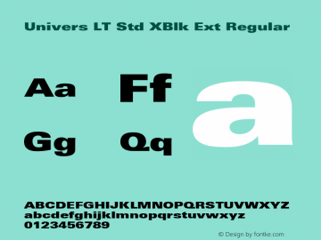Univers LT Std XBlk Ext Regular OTF 1.029;PS 001.001;Core 1.0.33;makeotf.lib1.4.1585 Font Sample