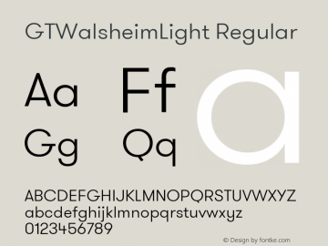 GTWalsheimLight Regular Version 1.001 Font Sample