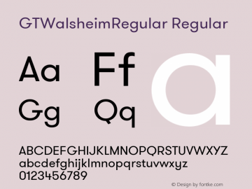 GTWalsheimRegular Regular Version 1.001 Font Sample