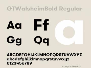 GTWalsheimBold Regular Version 1.001 Font Sample