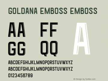 Goldana Emboss Emboss Unknown Font Sample