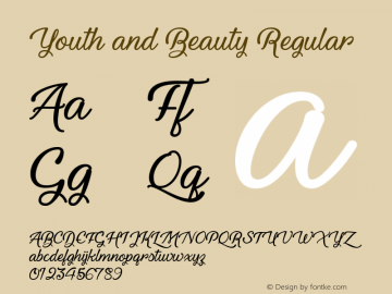 Youth and Beauty Regular Unknown Font Sample