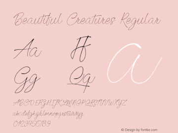 Beautiful Creatures Regular Version 1.000 Font Sample