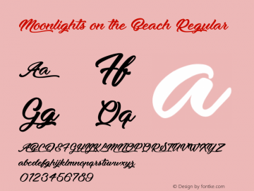 Moonlights on the Beach Regular Version 1.000 Font Sample