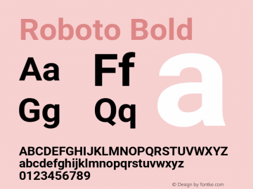 Roboto Bold Version 2.137; 2017 Font Sample