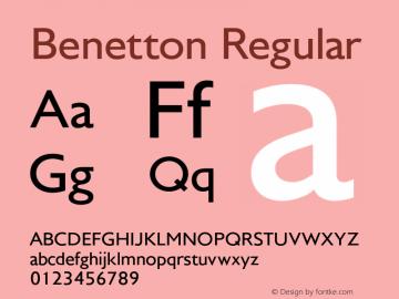 Benetton Regular Version 001.001 Font Sample
