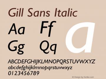 Gill Sans Italic 19: 13873: 1998 Font Sample