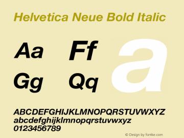 Helvetica Neue Bold Italic Version 1.300;PS 001.003;hotconv 1.0.38 Font Sample