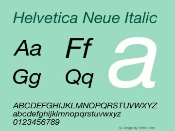 Helvetica Neue Italic Version 1.300;PS 001.003;hotconv 1.0.38 Font Sample