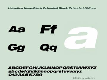 Helvetica Neue-Black Extended Black Extended Oblique Version 1.300;PS 001.003;hotconv 1.0.38 Font Sample