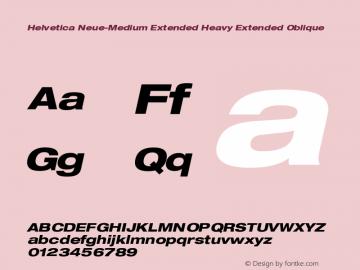 Helvetica Neue-Medium Extended Heavy Extended Oblique Version 1.300;PS 001.003;hotconv 1.0.38 Font Sample
