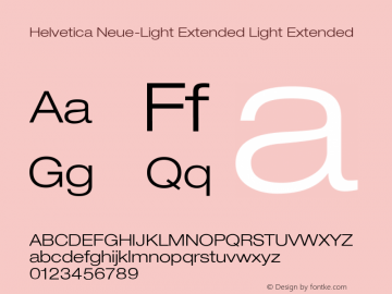 Helvetica Neue-Light Extended Light Extended Version 1.300;PS 001.003;hotconv 1.0.38 Font Sample