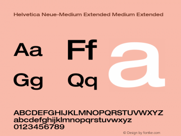 Helvetica Neue-Medium Extended Medium Extended Version 1.300;PS 001.003;hotconv 1.0.38 Font Sample