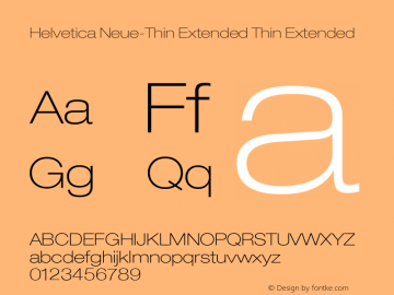 Helvetica Neue-Thin Extended Thin Extended Version 1.300;PS 001.003;hotconv 1.0.38 Font Sample