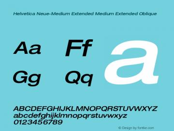 Helvetica Neue-Medium Extended Medium Extended Oblique Version 1.300;PS 001.003;hotconv 1.0.38 Font Sample