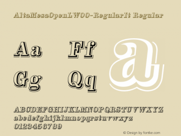 AltaMesaOpenLW00-RegularIt Regular Version 1.00 Font Sample