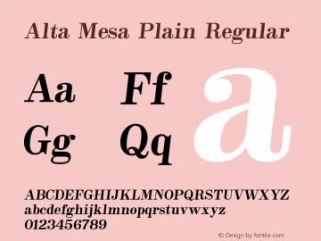Alta Mesa Plain Regular Version 1.00 Font Sample
