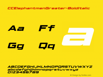 CCElephantmenGreater-BoldItalic ☞ Version 1.001 2010;com.myfonts.comicraft.elephantmen-greater-and-taller.greater-bold-italic.wfkit2.3wfN Font Sample