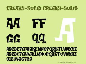creaky-solid creaky-solid Version 001.000 Font Sample