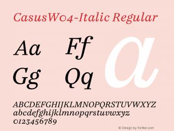 CasusW04-Italic Regular Version 7.504 Font Sample