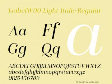 IsabelW00-Light-Italic Regular Version 1.00图片样张