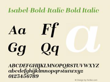 Isabel-Bold-Italic Bold Italic Version 1.000;PS 001.000;hotconv 1.0.88;makeotf.lib2.5.64775图片样张
