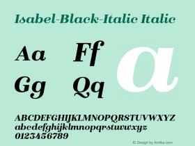 Isabel-Black-Italic Italic Version 1.000;PS 001.000;hotconv 1.0.88;makeotf.lib2.5.64775 Font Sample