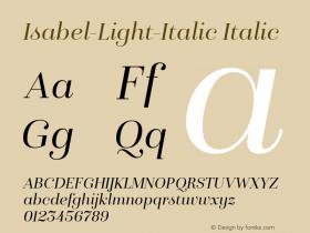 Isabel-Light-Italic Italic Version 1.000;PS 001.000;hotconv 1.0.88;makeotf.lib2.5.64775 Font Sample