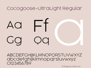Cocogoose-UltraLight Regular Version 1.000 Font Sample