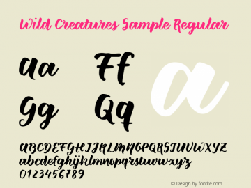 Wild Creatures Sample Regular Version 1.000 2017 initial release Font Sample