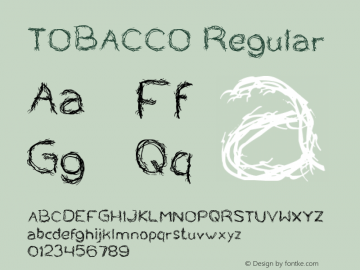 TOBACCO Regular Version 1.00 April 26, 2017, initial release Font Sample
