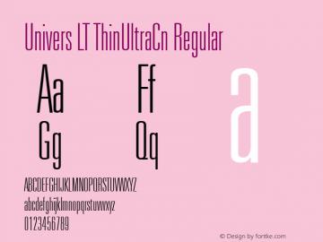 Univers LT ThinUltraCn Regular Version 6.1; 2002 Font Sample