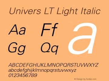 Univers LT Light Italic Version 6.1; 2002 Font Sample
